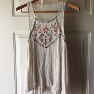Altar'd State Boho Cream Tank Top Embroidered